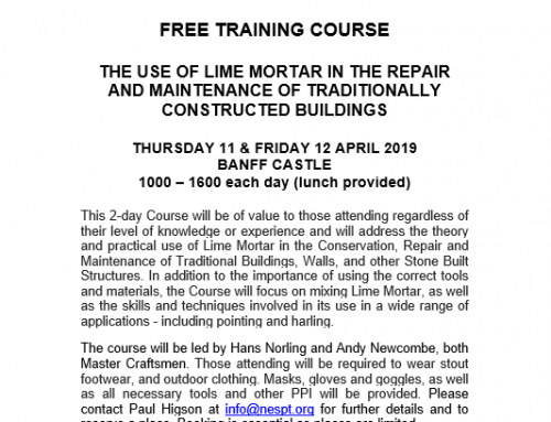 Free training course – THE USE OF LIME MORTAR IN THE REPAIR AND MAINTENANCE OF TRADITIONALLY CONSTRUCTED BUILDINGS